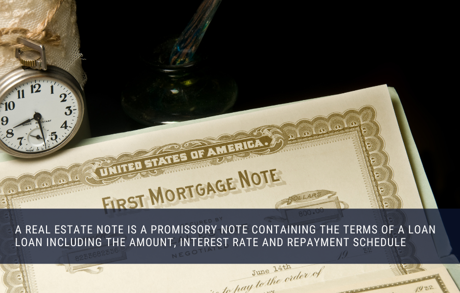 A real estate note is a promissory note containing the terms of a loan loan including the amount, interest rate and repayment schedule