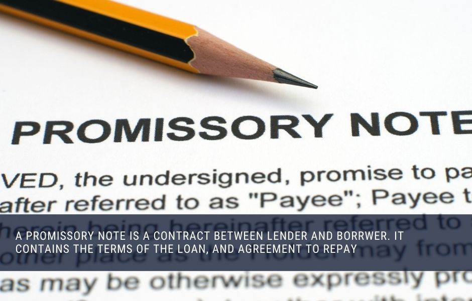 A promissory note is a contract between lender and borrwer. It contains the terms of the loan, and agreement to repay