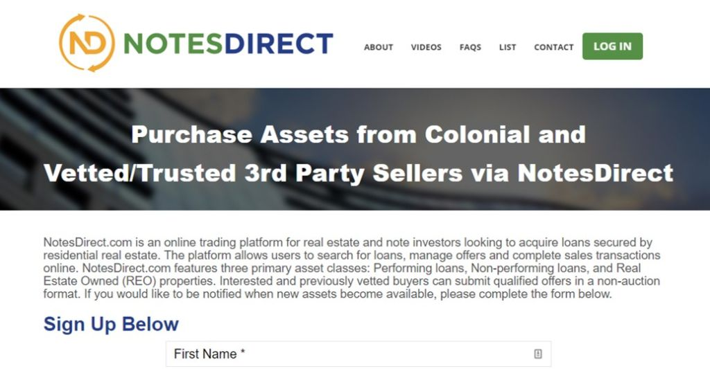 Notes Direct allows investors to buy mortgage notes online