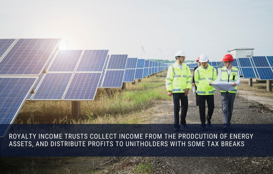 A Royalty income trust distributes profits from energy production to unitholders with some additional tax breaks