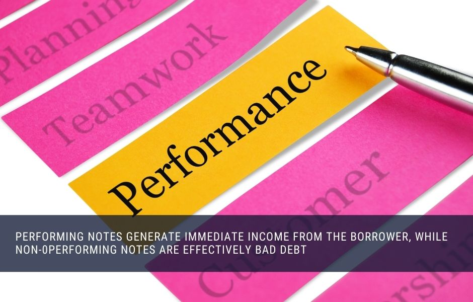 Performing notes generate immediate monthly income, while non performing notes are bad debt