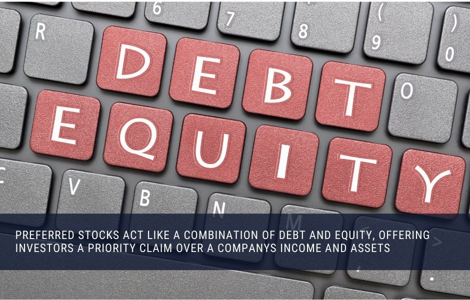 Preferred stocks act a bit like debt and equity, giving investors a priority claim over a company's income and assets