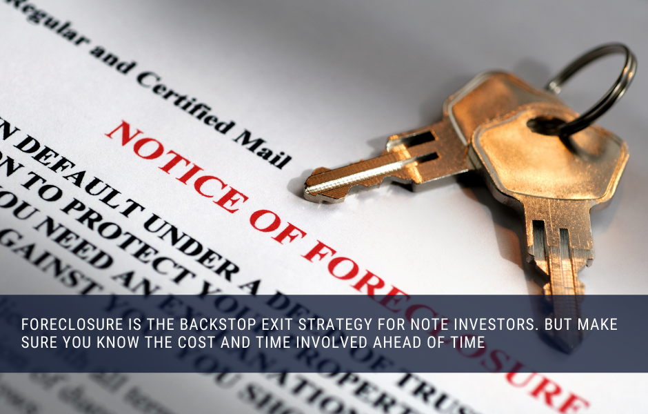 Foreclosure is the backstop exit strategy for note investors. But make sure you know the cost and time involved ahead of time