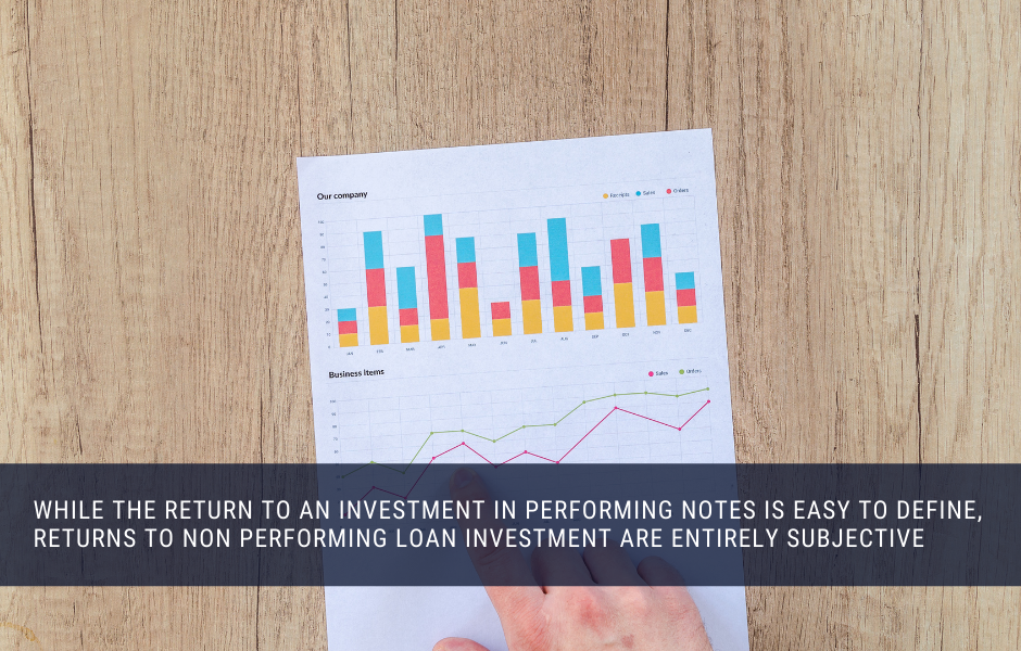 while the return to an investment in performing notes is easy to define, returns to non performing loan investment are entirely subjective
