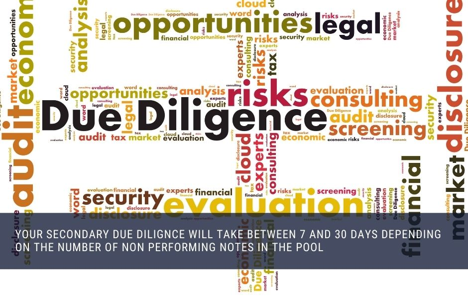 Your secondary due diligence will take between 7 and 30 days depending on the number of non performing notes in the pool